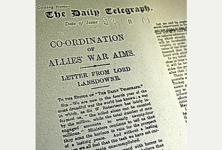 Image result for lansdowne peace letter