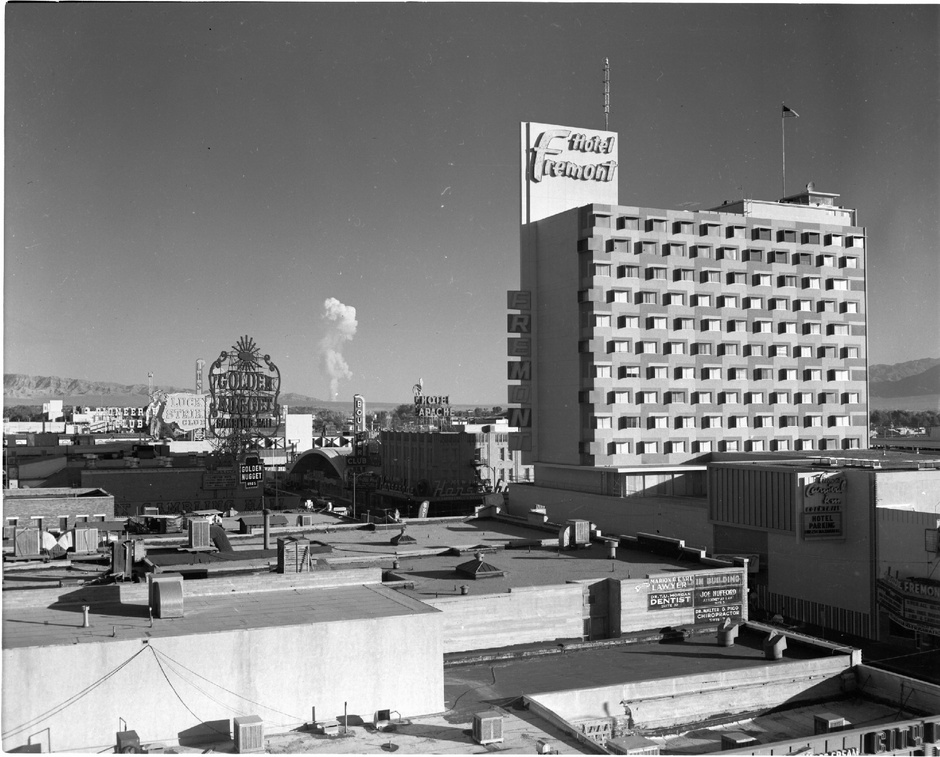Nuclear testing as seen from Las Vegas, 1950s