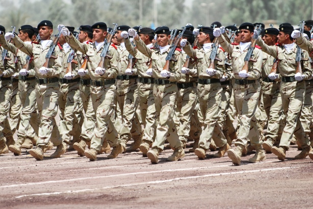 Iraqi soldiers march in Baghdad. By DVIDSHUB.