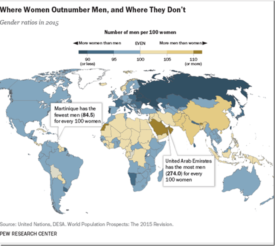 Where women outnumber men
