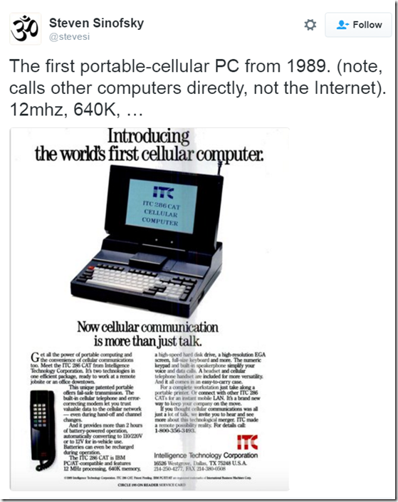 The first portable-cellular PC from 1989