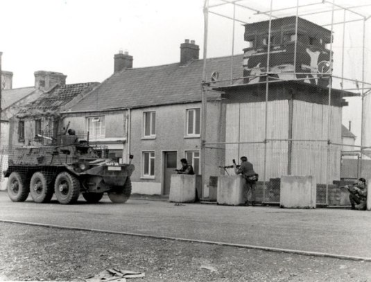 Army structures in border town Crossmaglen in early 1970s
