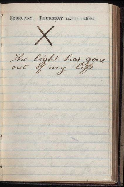 Theodore Roosevelt's diary on Valentine's day, after his wife and mother died on the same day in 1884