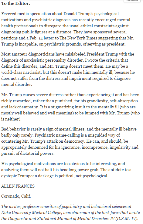 Trump is too happy, successful & badly behaved to be mentally illnarcissist