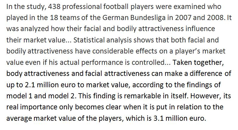 Why do footballers earn a beauty premium?