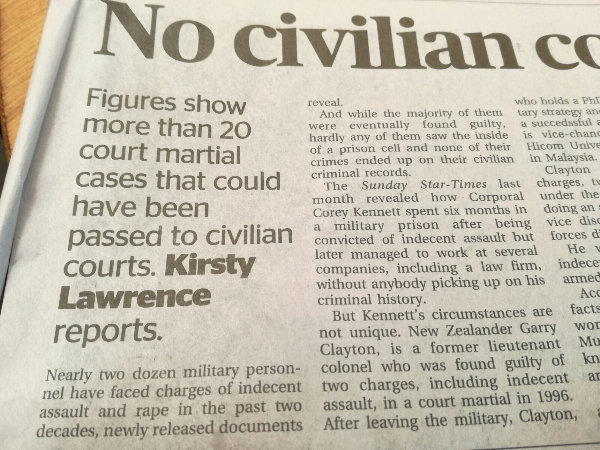 Oz military refers sex assaults to state police forces and courts