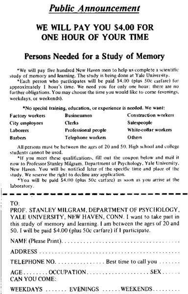 Original recruitment flier for 1963 obedience experiment by Stanley Milgram.