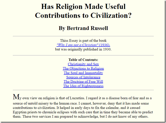 Would be hate speech if Russell had not picked on Christianity rather than …