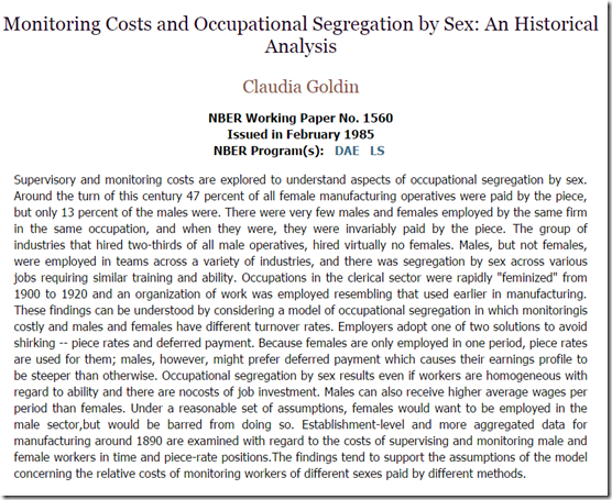 Supervisory and monitoring costs and occupational segregation by sex