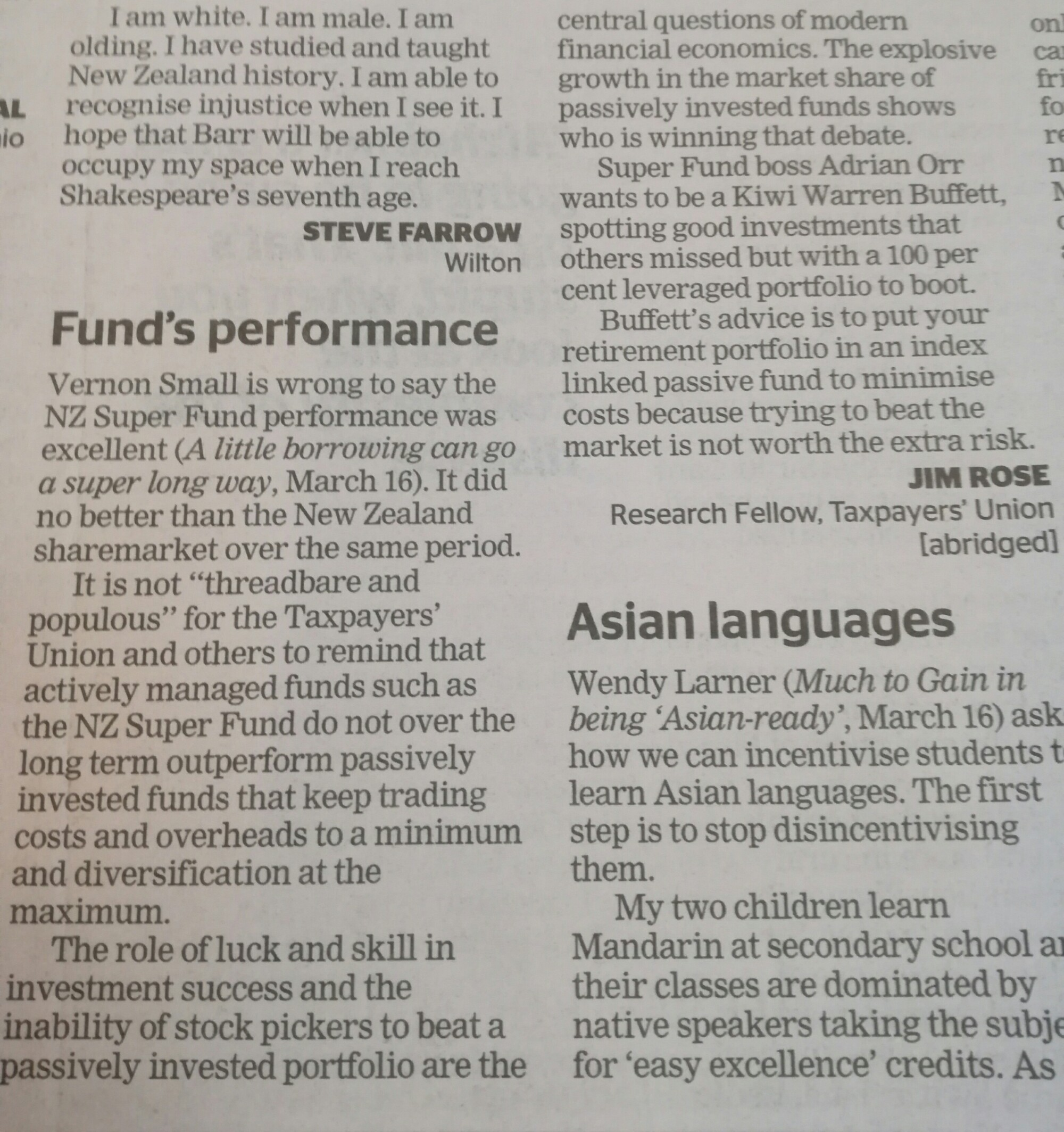 Letter to @DomPost on @NZSuperfund performance @Taxpayersunion