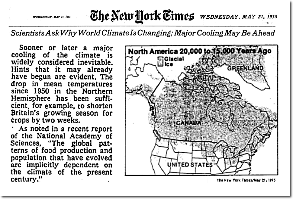 I wrote high school essays on global cooling, but alarmists push that down a memoryhole
