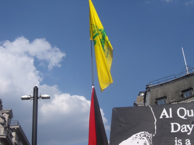 Hezbollah terror flag at front of Al Quds Day parade.