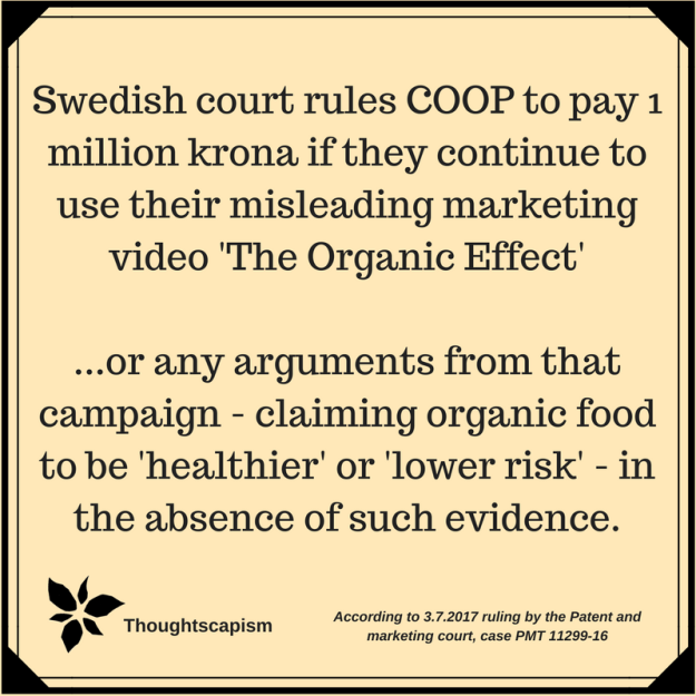 Swedish court rules COOP must pay 1 million krona if they use the misleading marketing video 'The Organic Effect'Or the arguments from that campaign, claiming organic food to be 'healthi