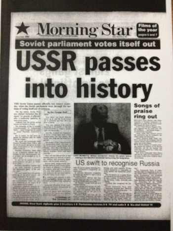 MS announcing the end of the Soviet Union in December 1991