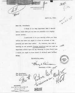 Henry Stimson to Harry S. Truman, April 24, 1945. (Harry S. Truman Presidential Library)