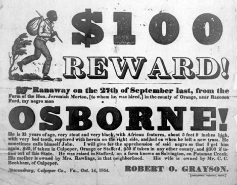 1854 advert for a runaway slave