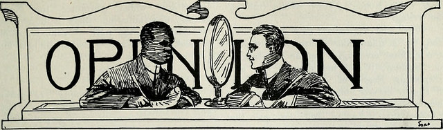Line drawing of a black and white man looking at each other laid over the word