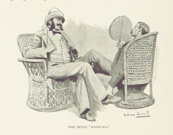 Drawing of two British colonials in wicker chairs with the label: